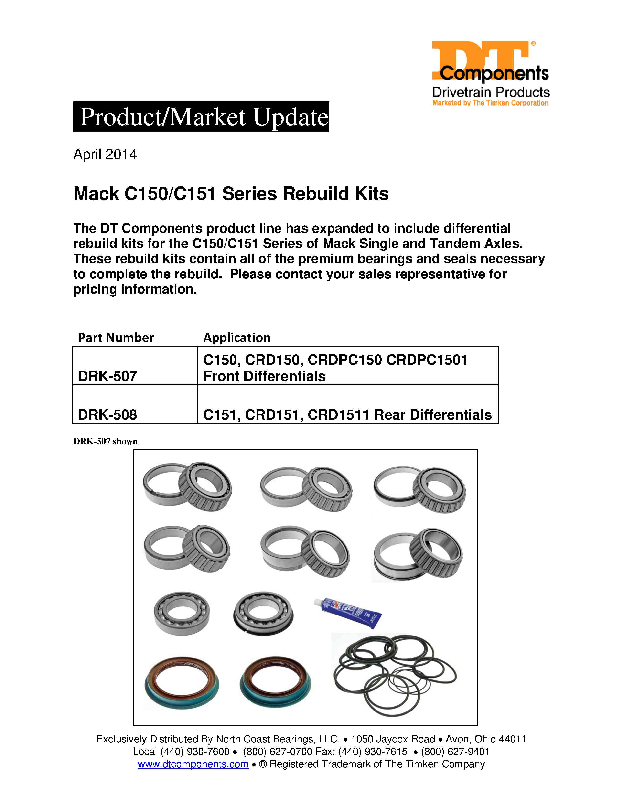 Timken TRK350 Differential Bearing and Seal Kit
